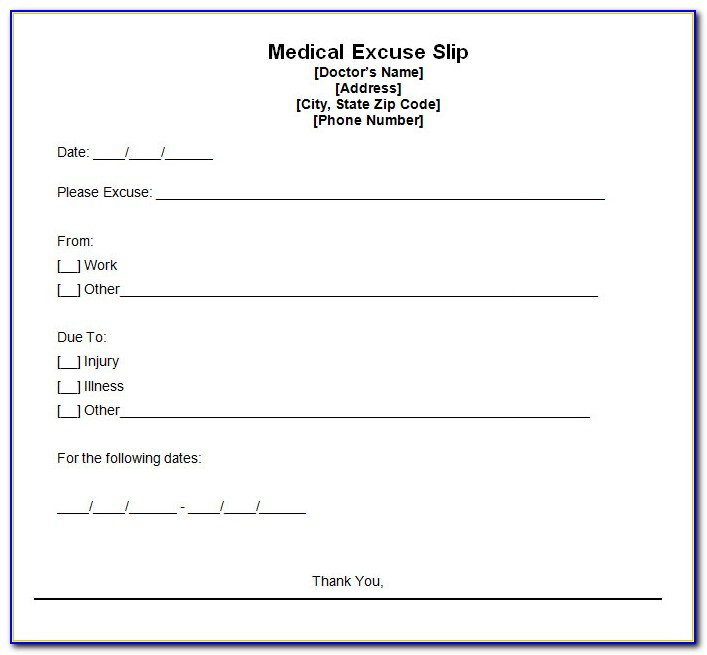 Free Doctor Note Template For Work