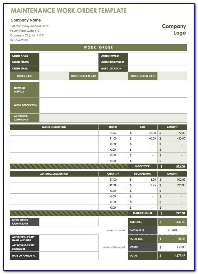 Free Editable Work Order Template