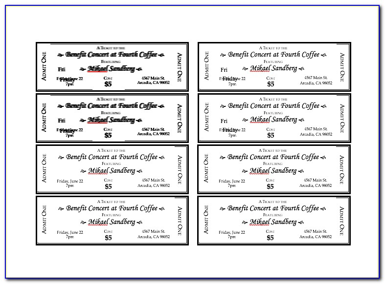 Free Event Ticket Templates For Word