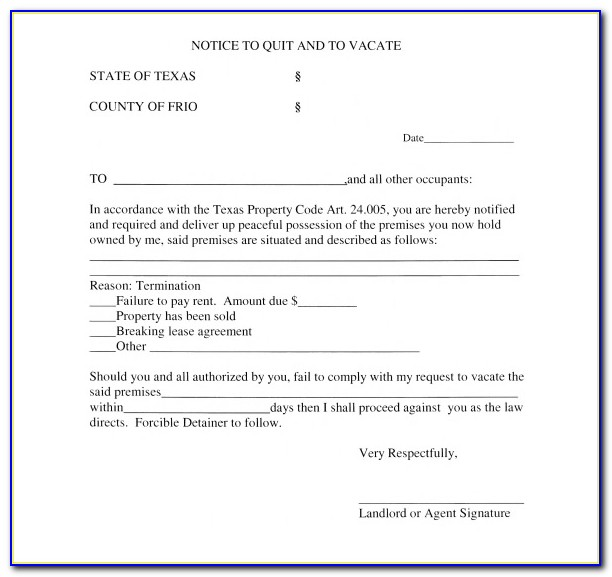 Free Eviction Notice Template Texas