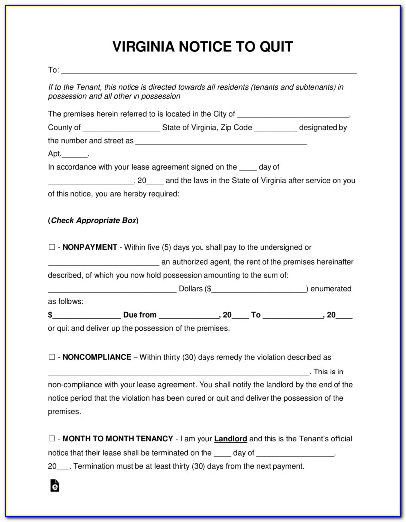 Free Eviction Notice Template Virginia