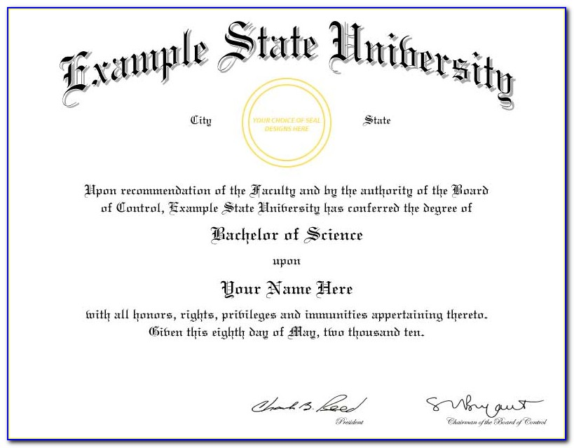 Free Fake Degree Certificate Template