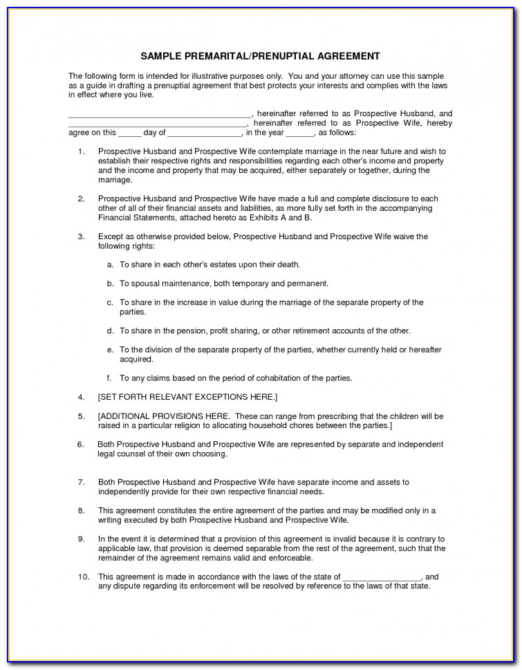 Free Florida Prenuptial Agreement Template