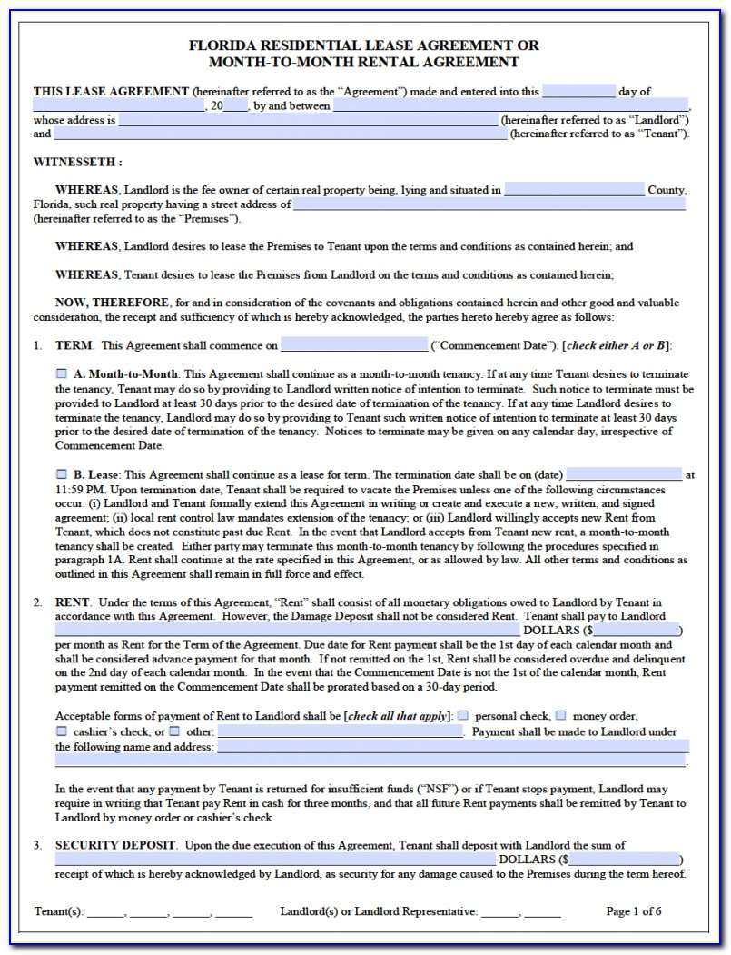 Free Florida Rental Lease Agreement Templates