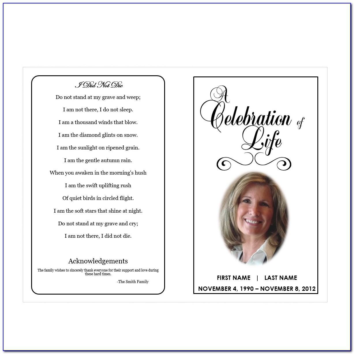Printable Funeral Programs Funeral Program Template Funeral Free Funeral Program Template