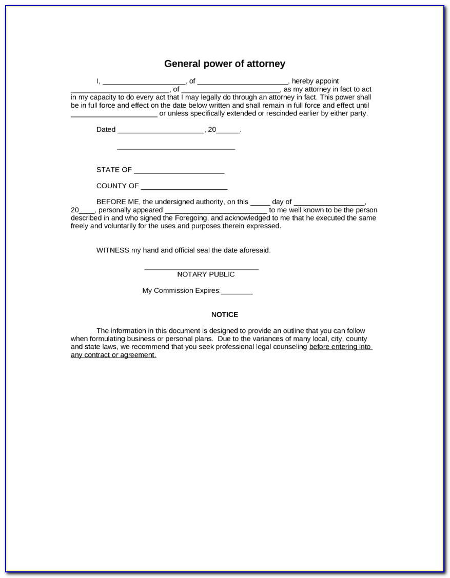 Free General Power Of Attorney Template Uk