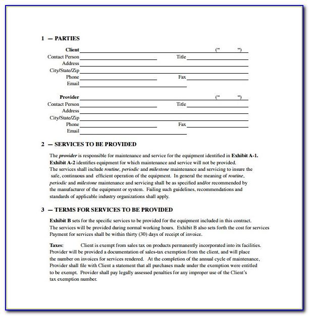 Free Hvac Service Agreement Template