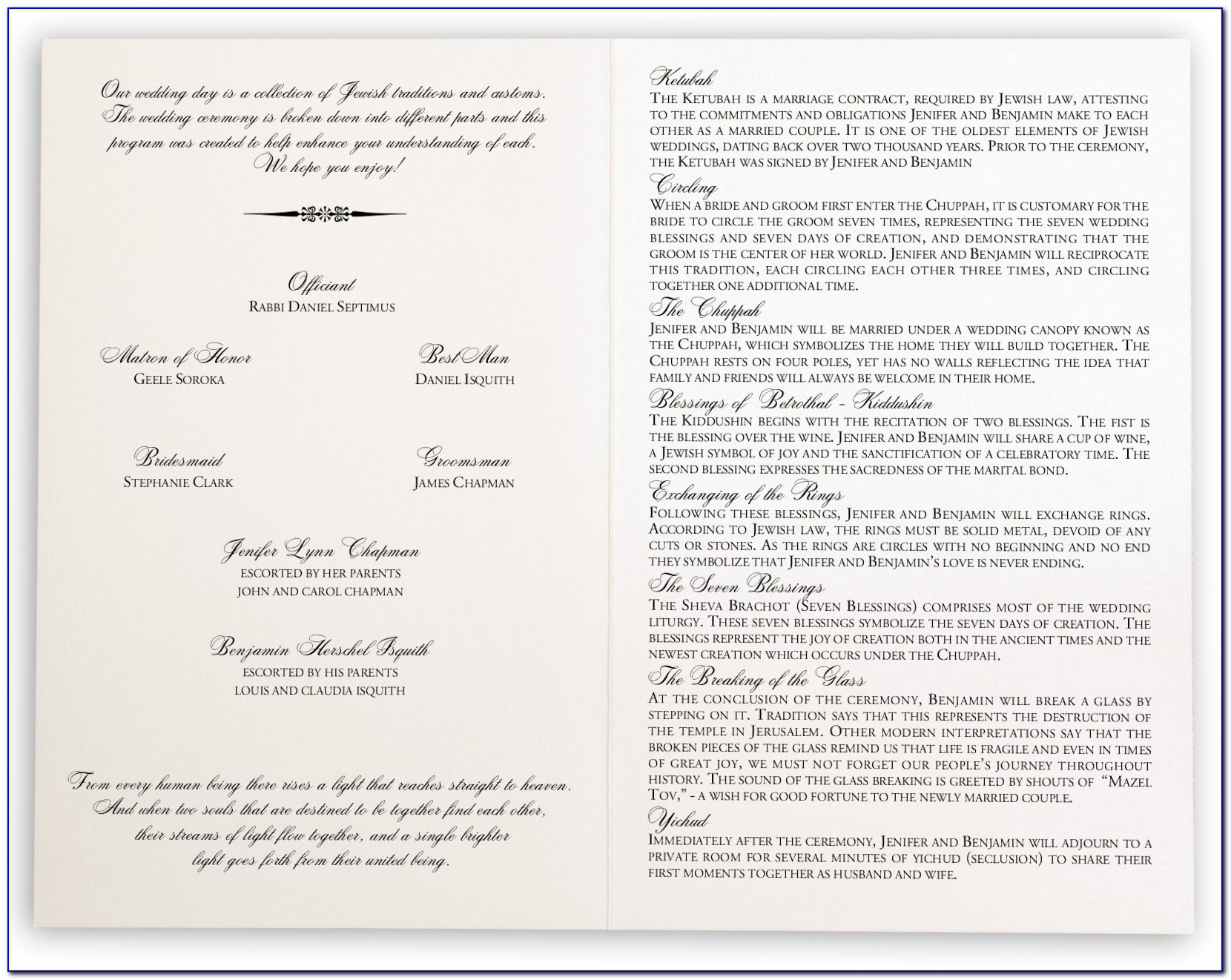 Free Jewish Wedding Program Template