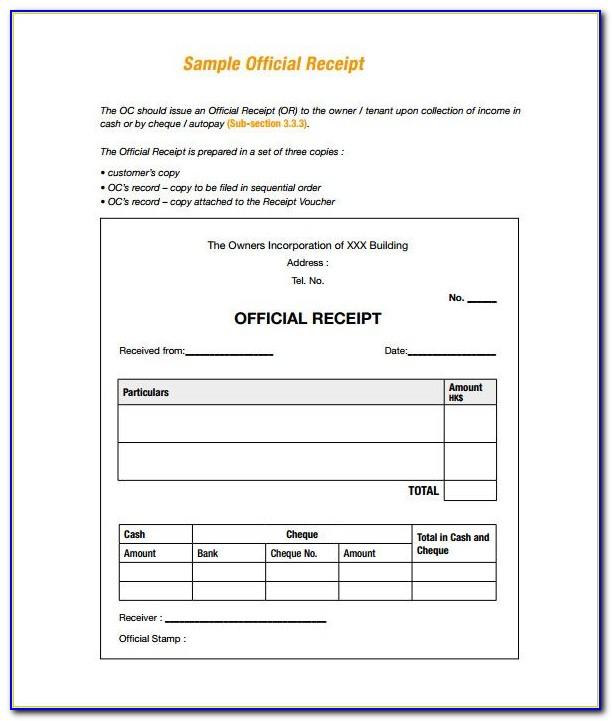 Free Money Receipt Format Doc