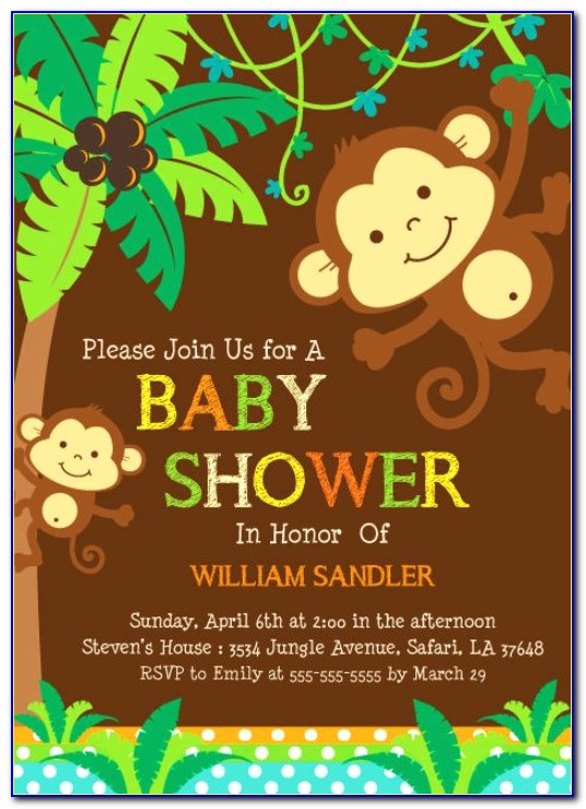 Free Monkey Baby Shower Invitation Templates