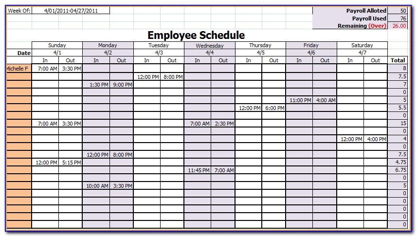 Free Monthly Employee Work Schedule Template Excel