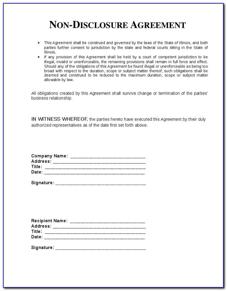 Free Non Disclosure Agreement Template Word Australia