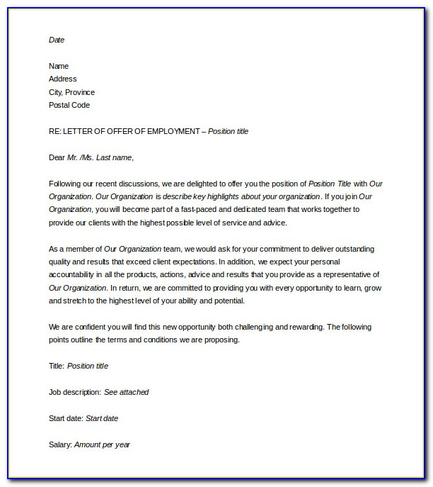 Free Offer Letter Template Word