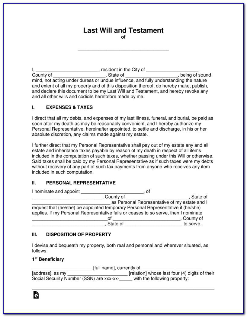 Free Online Templates For Wills