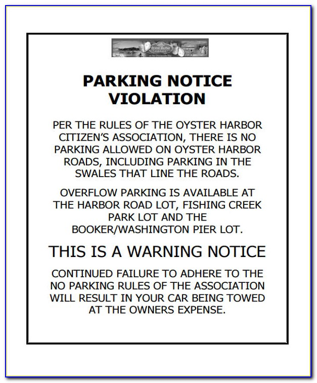 Free Parking Violation Notice Template
