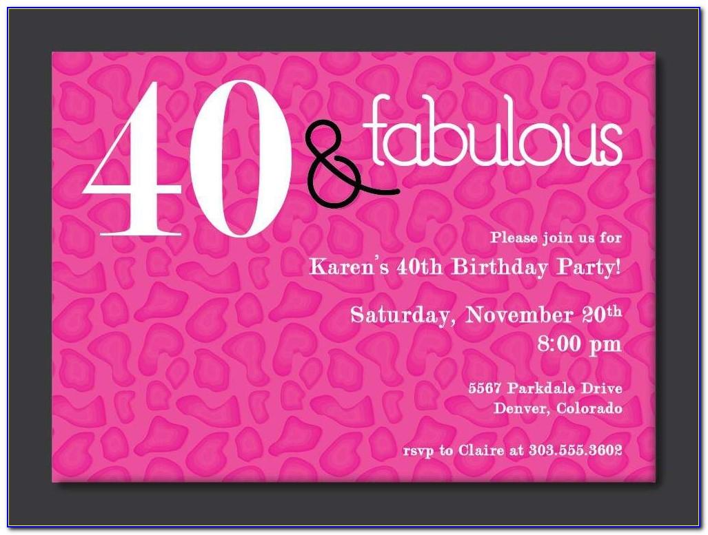 Free Printable 40th Birthday Party Invitation Templates