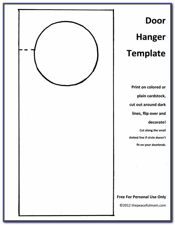 Free Printable Door Hanger Template