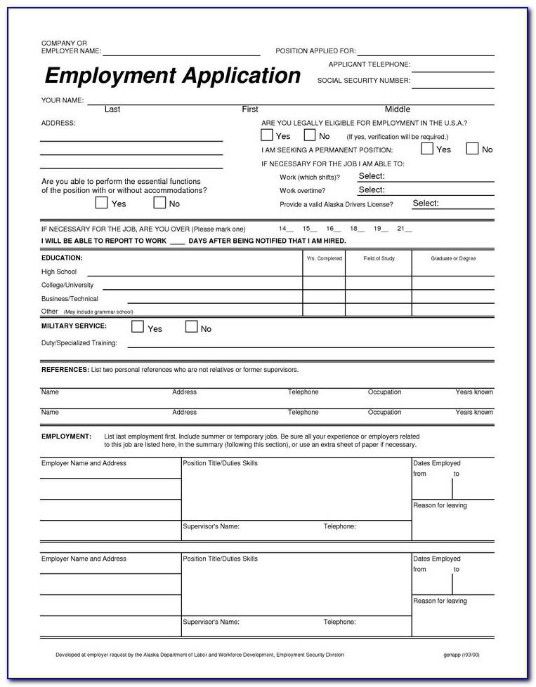 Free Printable Job Application Templates