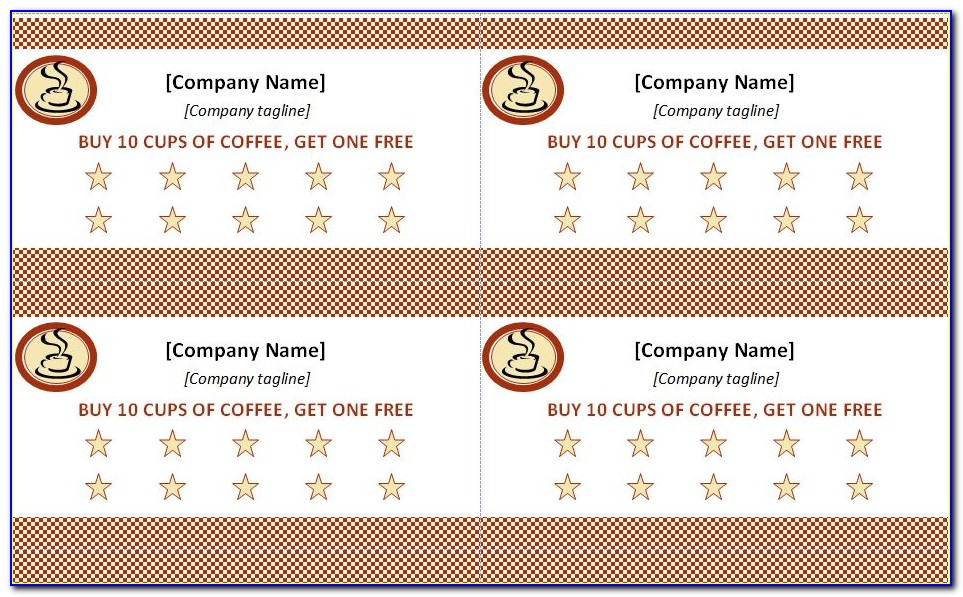 Free Printable Punch Card Templates
