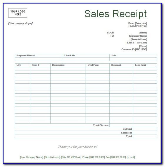 Free Printable Sales Receipt Forms