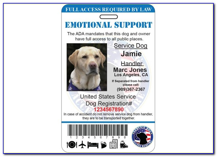 Free Printable Service Dog Id Card Template