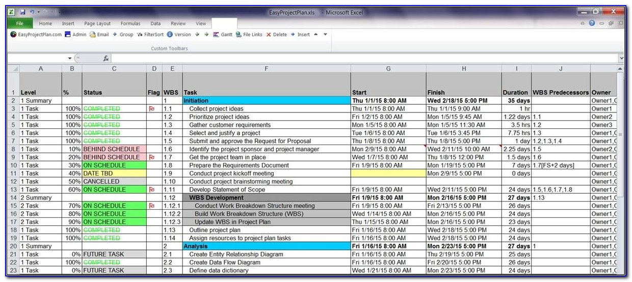 Easyprojectplan Screenshots Excel Gantt Chart Template Planner Project Plan Template Excel