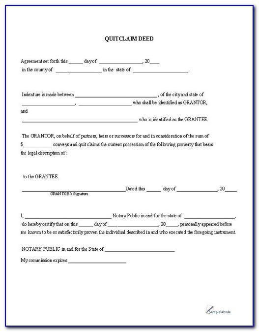 Free Quit Claim Deed Form Illinois