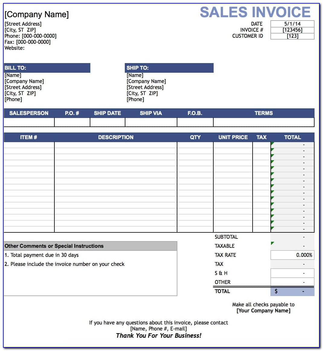 Free Sales Invoice Template Excel