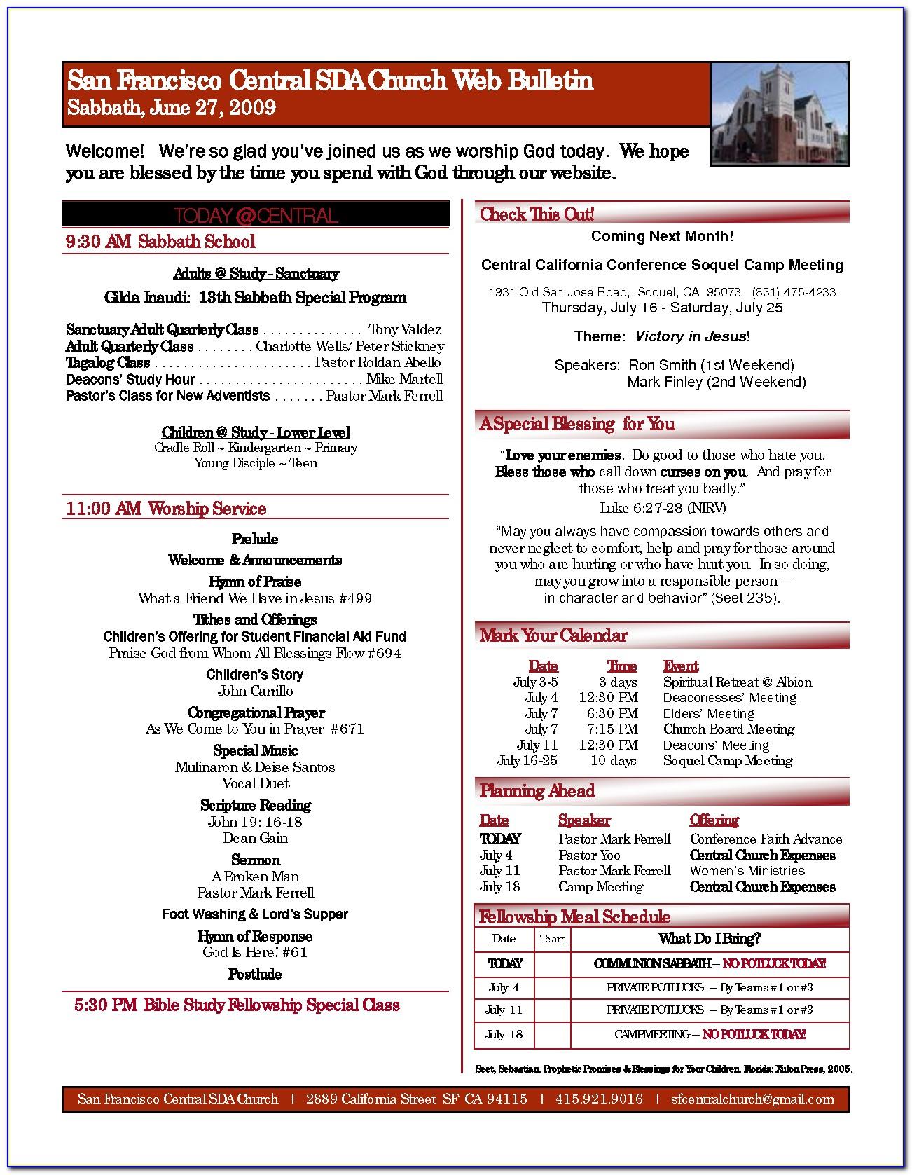 Free Sample Church Bulletins Templates