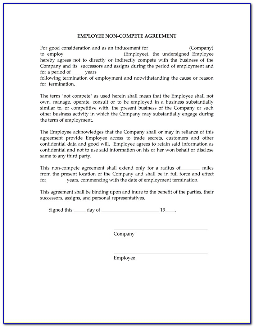 Free Sample Non Compete Agreement Template