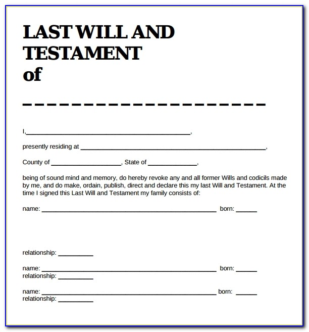 Free Sample Of Last Will And Testament Template