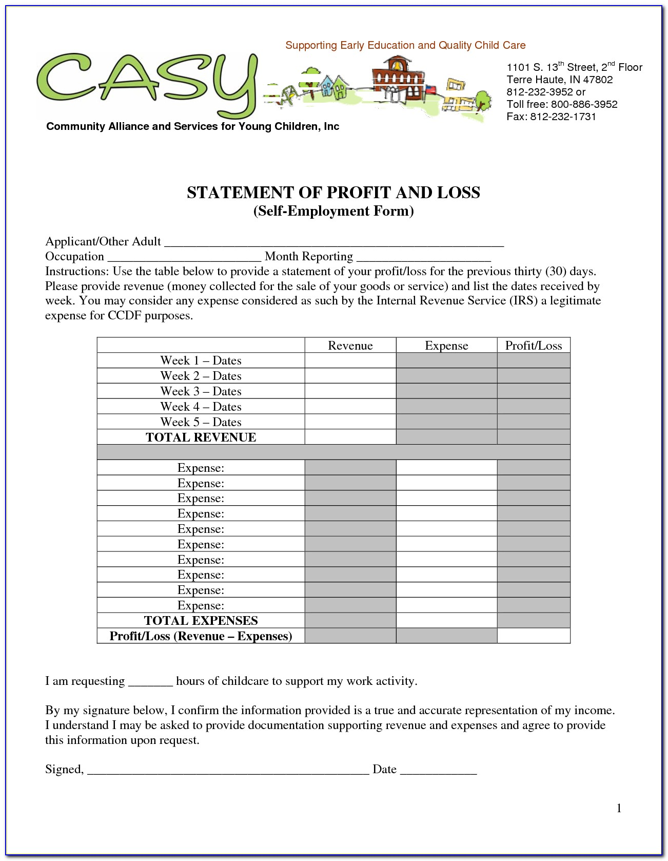 Free Sample Profit And Loss Statement For Self Employed