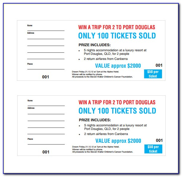Free Sample Raffle Tickets Template
