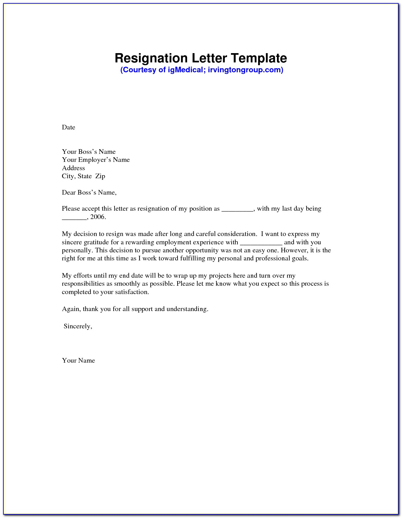 Free Sample Template Resignation Letter