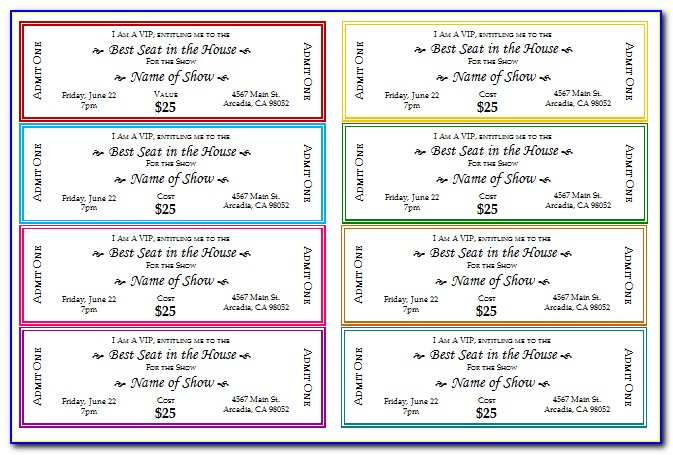 Free Sample Tickets Template