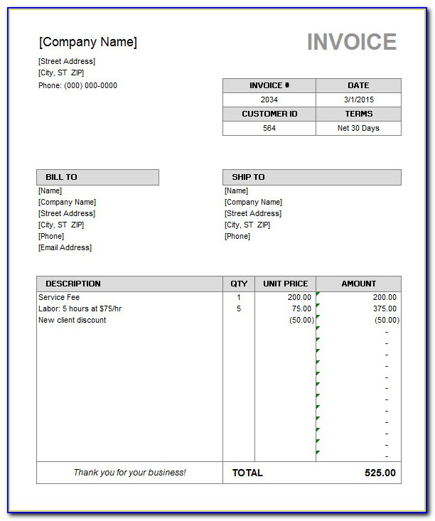 Free Service Invoice Template Microsoft Word