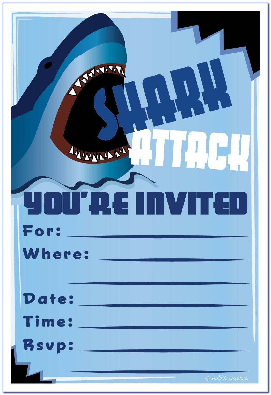 Free Shark Birthday Invitation Template