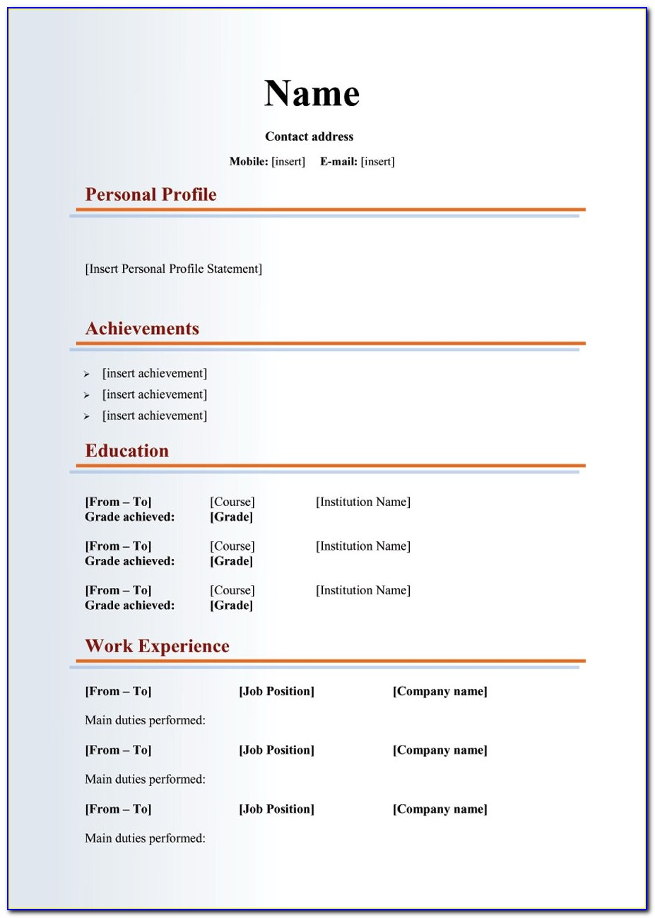 Free Templates For Curriculum Vitae
