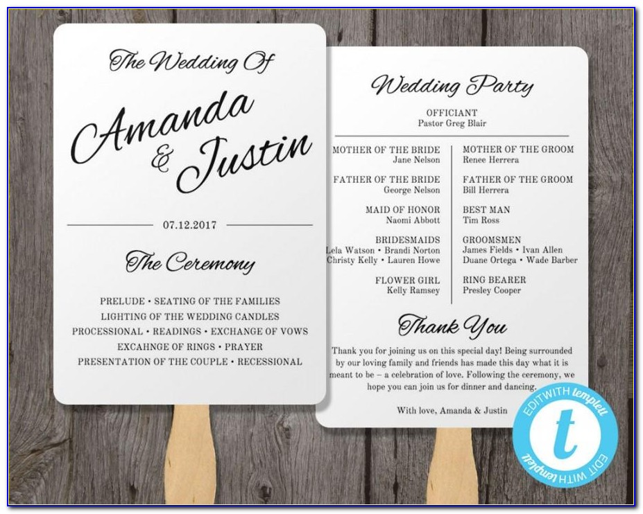 Free Wedding Program Fan Templates Word