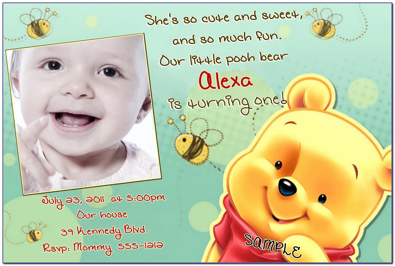 Free Winnie The Pooh 1st Birthday Invitation Templates