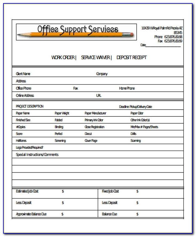 Free Work Order Receipt Template