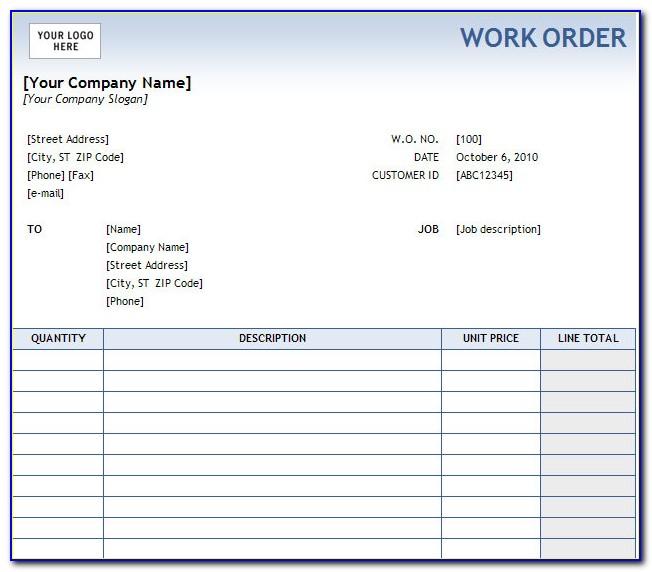 Free Work Order Template Pdf