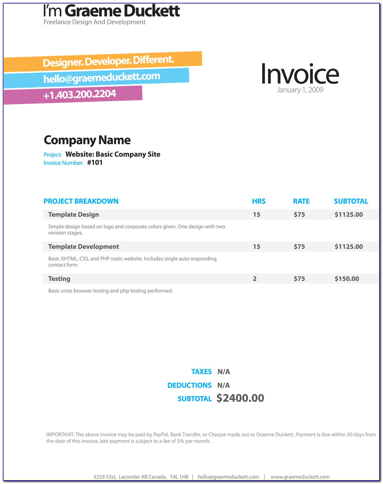 Freelance Web Design Invoice Template