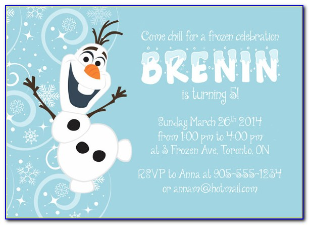 Frozen Invitation Template With Picture