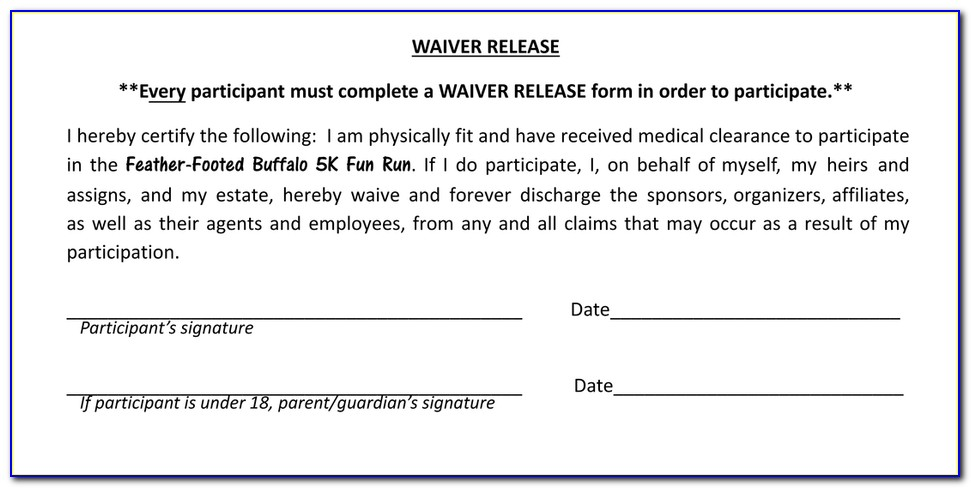 Fun Run Waiver Form
