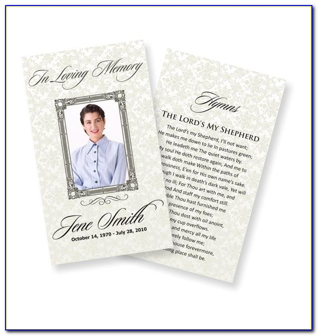 Funeral Memory Cards Free Templates