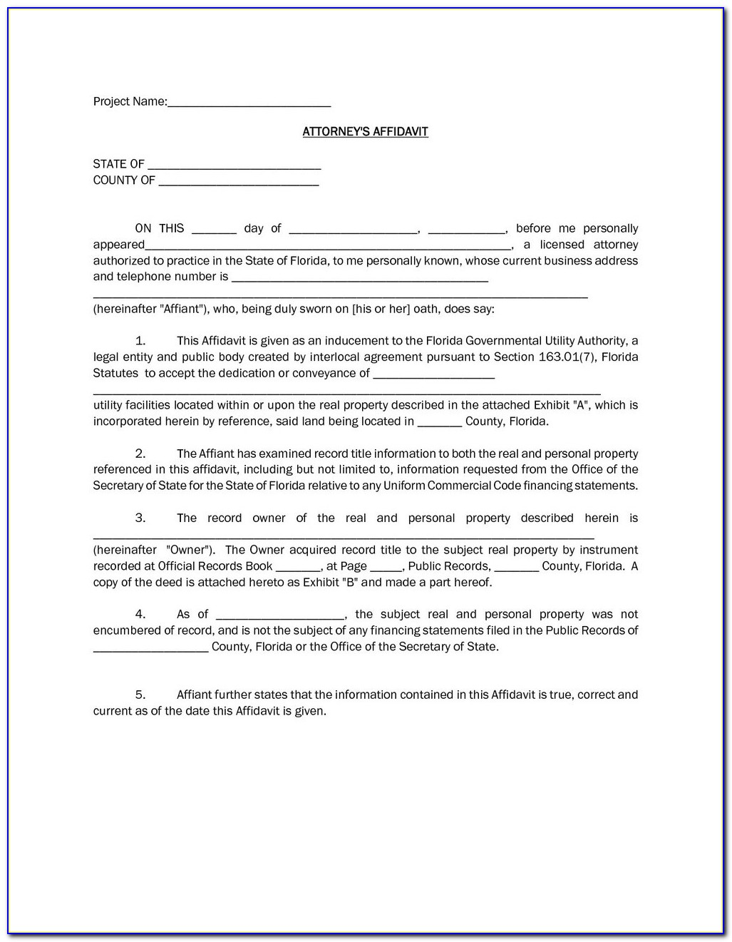 General Affidavit Template Word