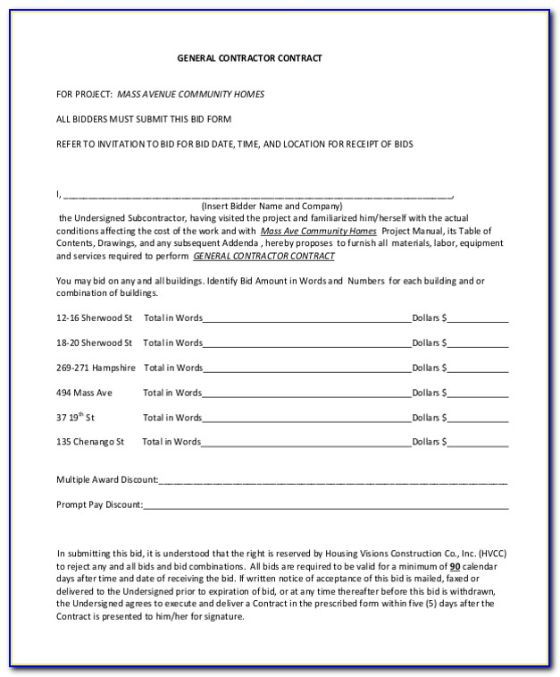General Contractor Agreement Template