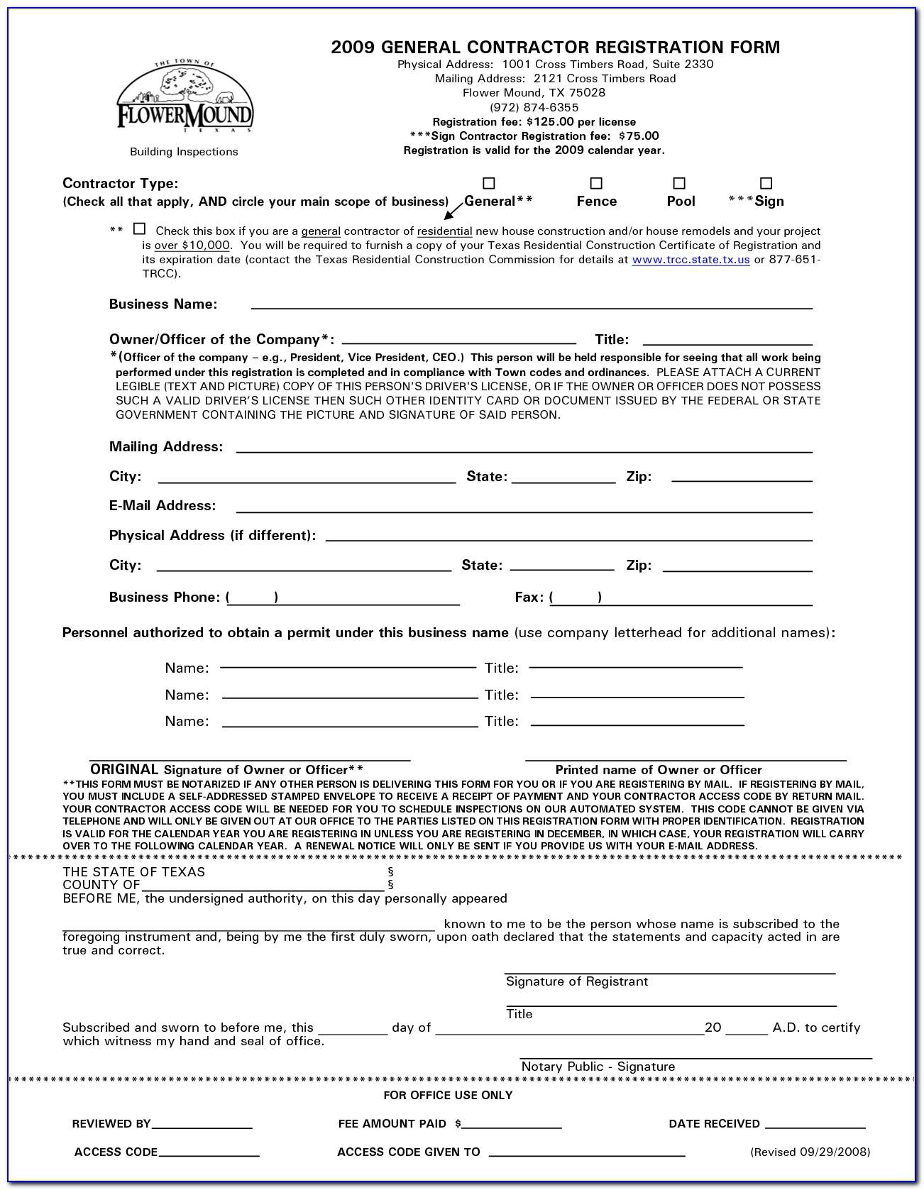 General Contractors Agreement Template