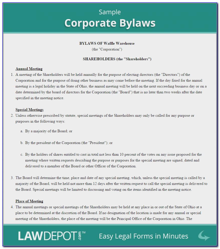 Generic Bylaws Template